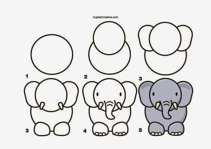 Kerajinan anak tk/sd, langkah/cara menggambar gajah &; mewarnai