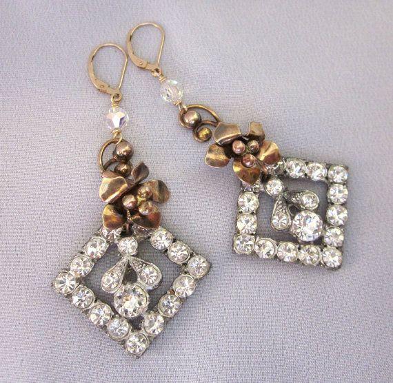 Repurposed Vintage Jewelry Rhinestone Chandelier Earrings