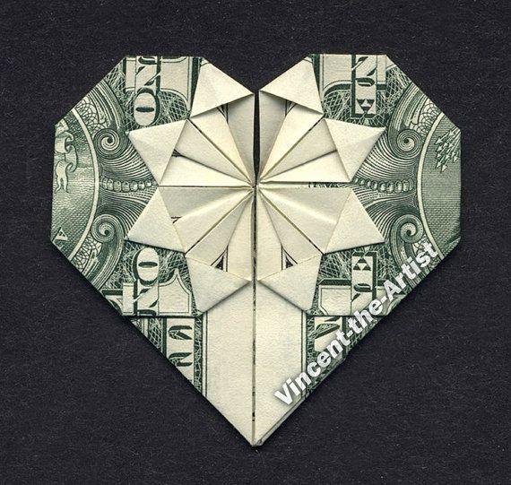 dollar bill origami heart gift ideas pinterest
