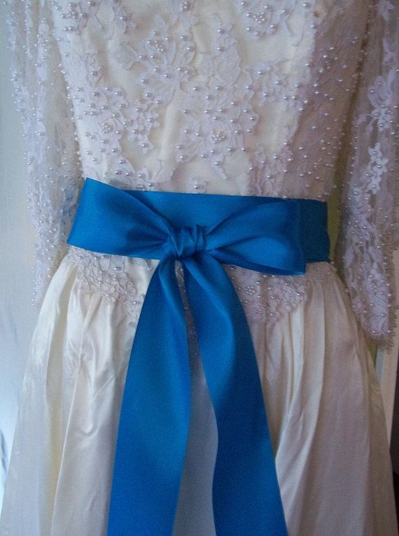 Turquoise blue wedding dress sash belt 2 1 4 inch double for Blue sash for wedding dress