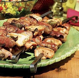 Tuscan Grilled Chicken, Sausage & Sage Skewers: The crisp, intensely ...