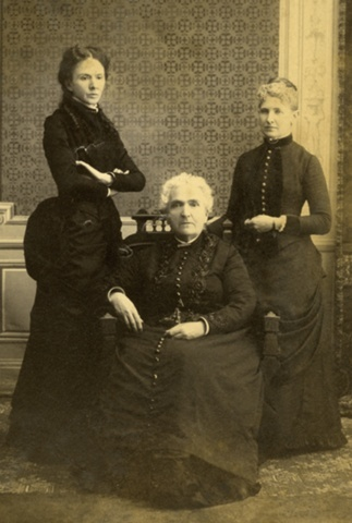 Frances Shimer, co-founder of Shimer College, flanked by her able assistants Adelia Joy and Isabel Dearborn Hazzen. From the Shimer College Collection, Box 17 Folder 4. Credit: Northern Illinois University Archives.