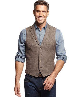 Tasso Elba Vest, Wool-Blend Herringbone Vest - Men's Vests - Men - Macy's