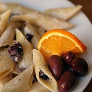 Penne with mascarpone, black olives and orange oil