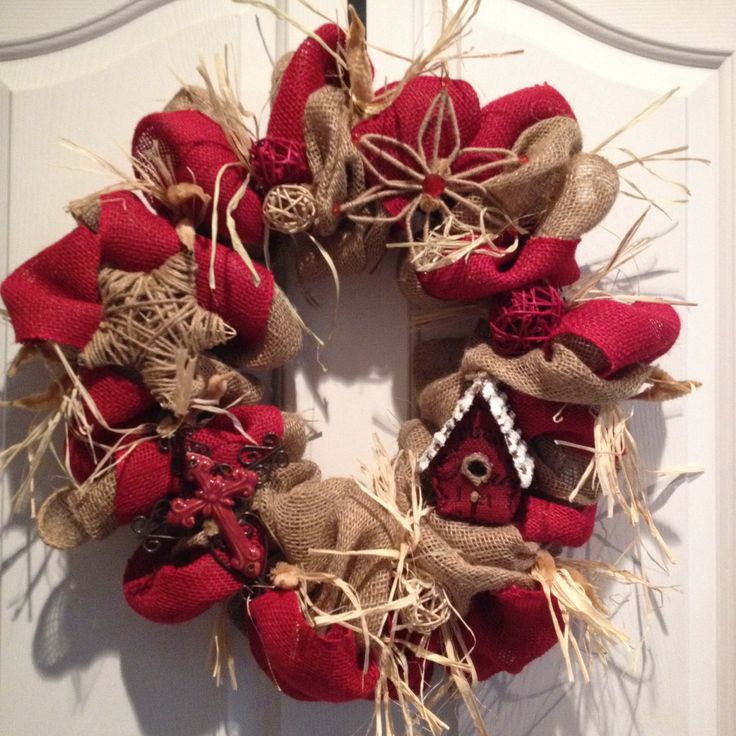 Burlap christmas wreath craft ideas pinterest Burlap xmas wreath