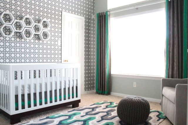 Modern Sports Themed Nursery - Love how it's accented with sports decor, but not overdone! #nursery #modern