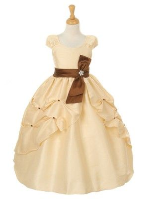 Dress With Brown Sash Sizes 2 12 In 3 Colors Flower Girl Dresses
