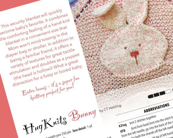 Knitting Pattern For Security Blanket : Knitting Pattern HugKnits Bunny Lovey - PDF Security ...