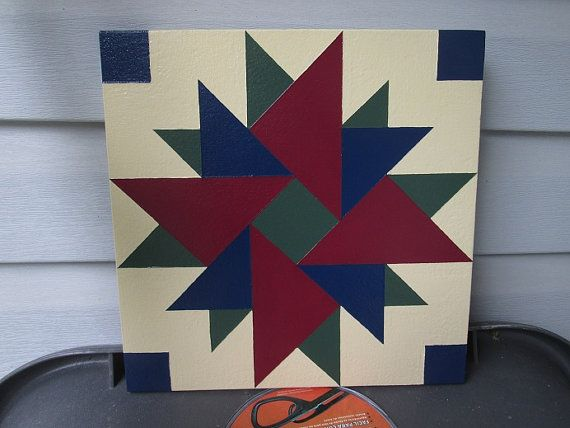 """Barn Quilt """"Double Aster"""" quilt pattern. 12"""" x 12"""" square E3554f49019c3555707716446c1b7d3a"""