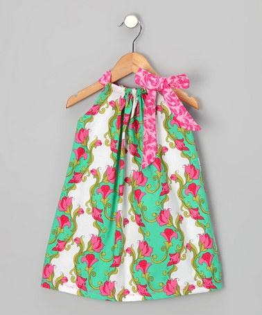 Pink & Green Tulip Shift Dress - Infant, Toddler & Girls