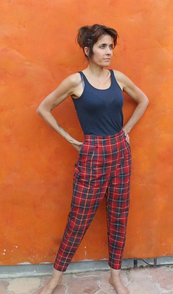 1960s high waisted women s skinny plaid pants red green yellow