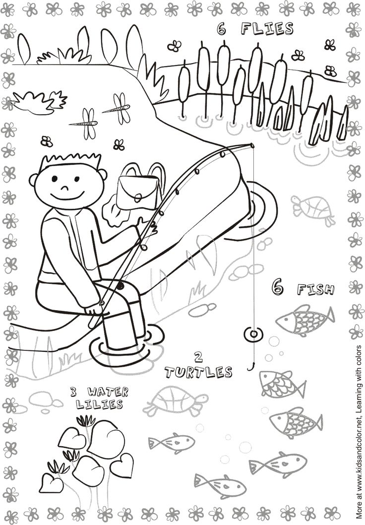 Fishing Pond Coloring Page Science