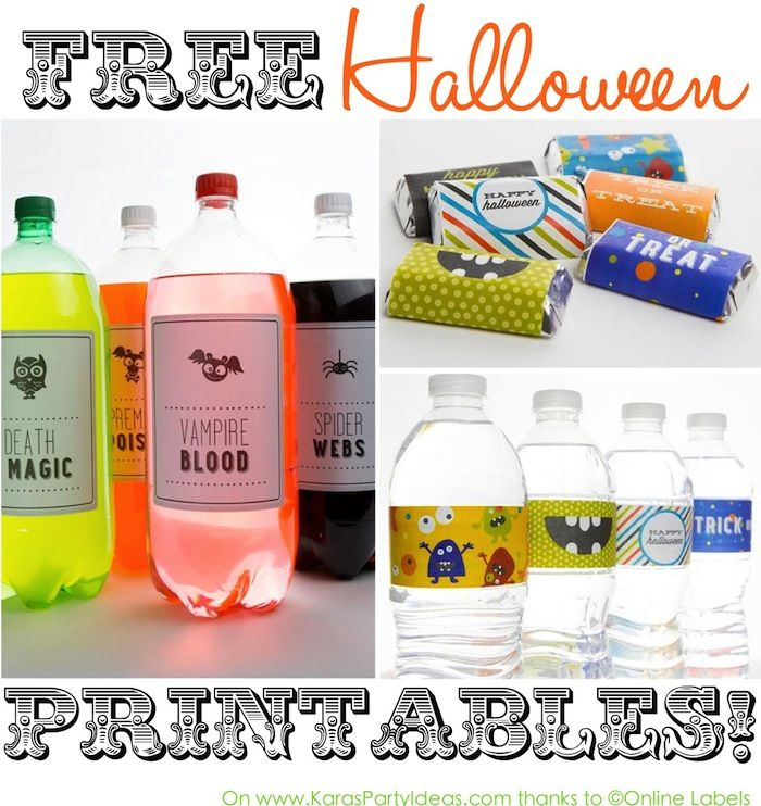 FREE halloween party printables! Drink labels, candy bar wrappers,tags, and more! Via KarasPartyIdeas.com #halloweenparty #freeprintables #freehalloweenprintables