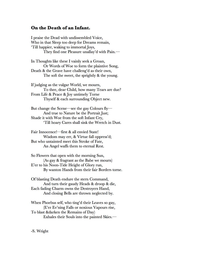 Poem For Death Of A Baby | Search Results | Advise Update