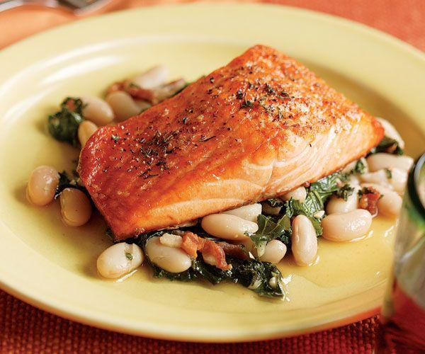 Broiled Salmon with a White Bean, Kale & Bacon Ragoût   Recipe