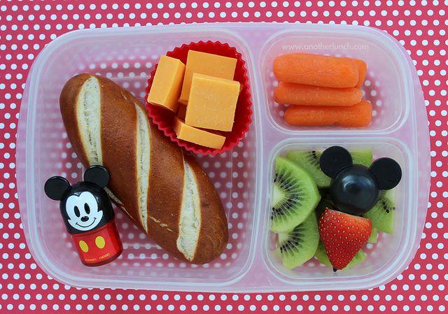 Mickey Mouse bento box school lunch - soft pretzel, carrots, fruit ...