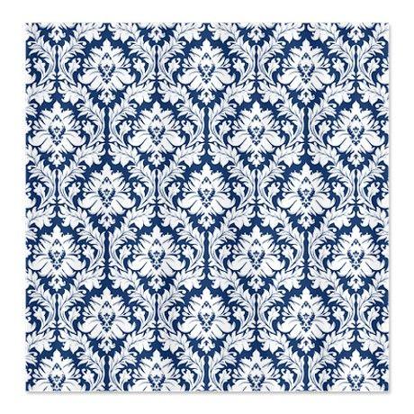 Dark Blue Damask Shower Curtain On