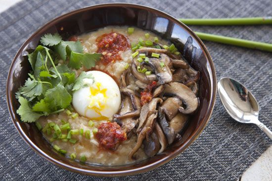 congee - breakfast staple in China. This is a veggie version, but if ...