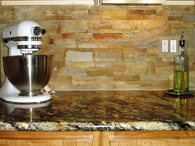 Stacked Stone As Backsplash Kitchens Pinterest