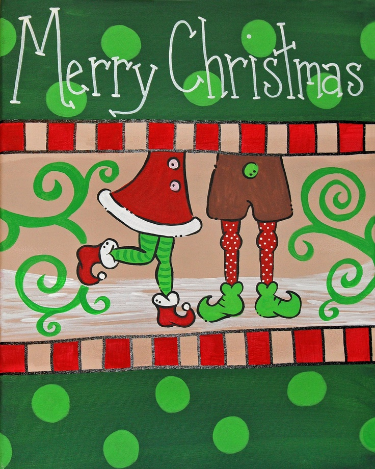 Santa 39 s helpers couple christmas canvas hand painted for Easy christmas paintings on canvas