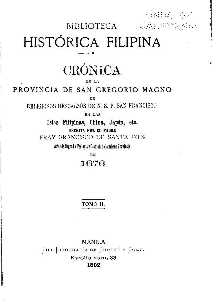 Crónica de la provincia de San Gregorio Magno de religiosos descalzos