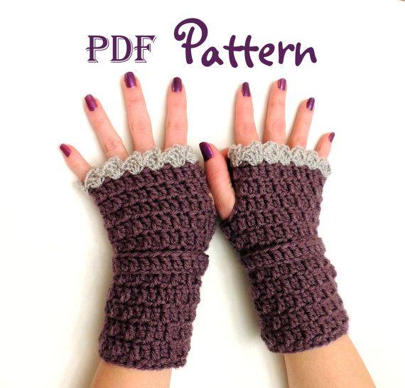Crochet Fingerless Gloves Pattern Easy : PDF CROCHET PATTERN for Easy Elegance Crochet Fingerless ...