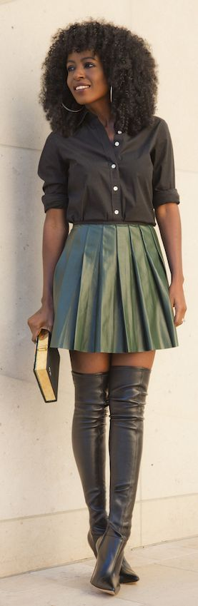 Green Pleated Leather Midi Skirt by Style Pantry