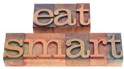 Eat smart! ¿Qué comer inteligentemente?   Disminuye azúcar, grasas saturadas y sal!   Source:  http://www.eatright.org/Public/content.aspx?id=6442469624#.UI7EmMX8L3R