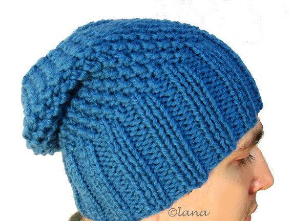 Mens Slouchy Beanie Knit Pattern : Knitting pattern hat slouchy men women unisex in PDF n14