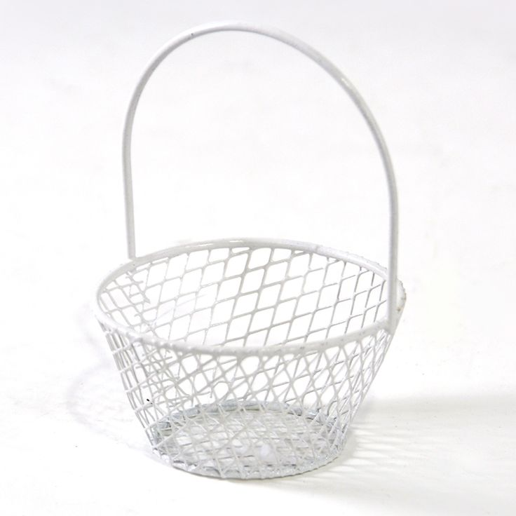 ... Wire Mini Round Handle Basket - White - Lucky Clover Trading Co. $0.95