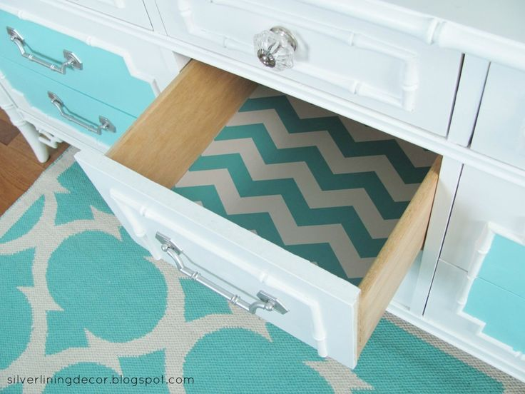 We love lined drawers in a dresser/changing table - such a fun surprise! #nursery