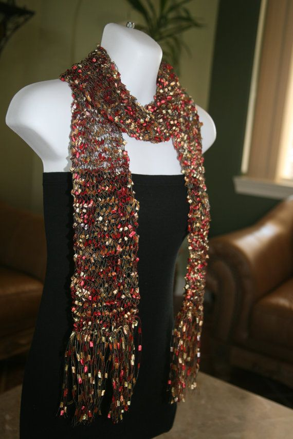 Ribbon scarf handmade handknit trellis scarves metallic gold red black multic...