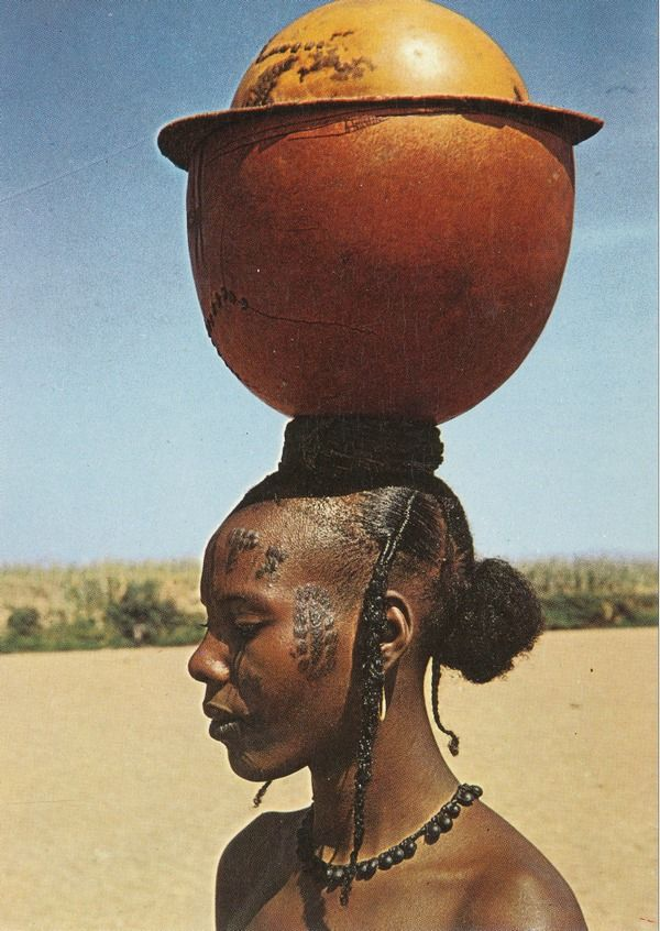 Africa | Mbororo woman from Cameroon. || Scanned old postcard; published my Oblats missionnaires, photo N Leca.