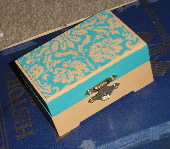 hand painted damask wooden keepsake box