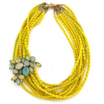 multi-stranded necklace. love the yellow.