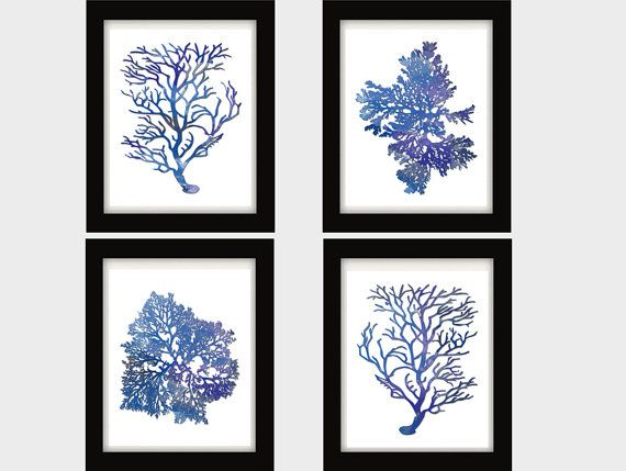 Blue Watercolor Coral and Sea Kelp Prints
