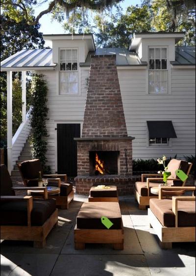 Brick fireplace via houzz back porch ideas pinterest for Back porch fireplace