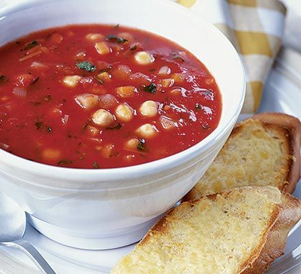 Autumn vegetable soup with cheesy toasts (Health dinner appetizer ...