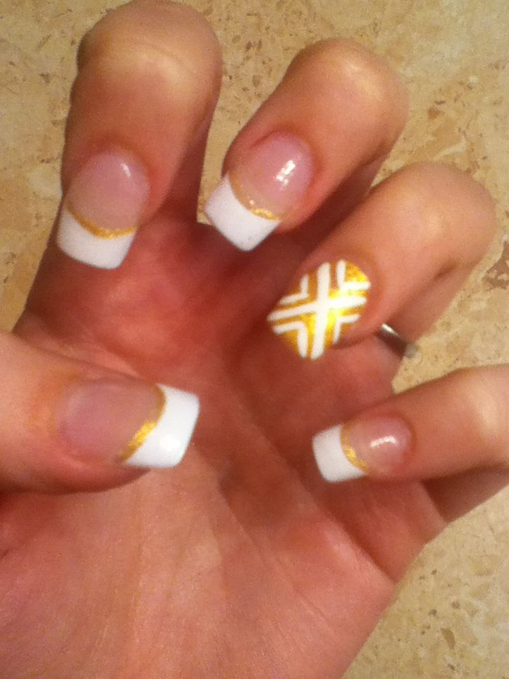 Gold And White Nail Designs For Prom Black And White Nail Designs