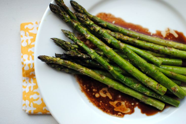baked asparagus with balsamic butter sauce.