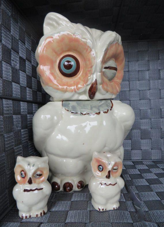 Shawnee Owl Set - Vintage Cookie Jar, Salt & Pepper Shakers, Owl Decor