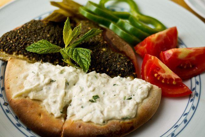 Manakish served with za'atar and fresh veggies. | Breakfast Yummies ...