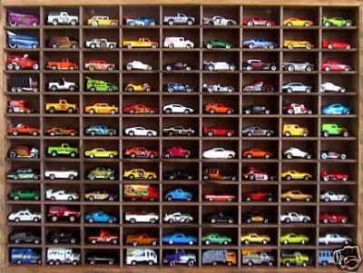 Matchbox Hot Wheels Handmade Display Case 1:64 108 cars Walnut Stain ...