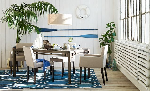 love the west elm dining room designs on a bright blue