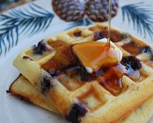 Blueberry Sour Cream Waffles — Perfect for using freshly picked or ...