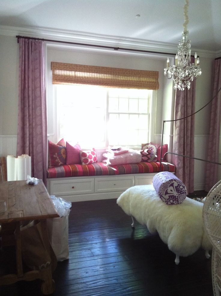 Beautiful Purple Curtains Decorating For Window Seat Design Ideas To
