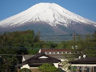 View of Mount Fuji - Yamanaka-ko, Japan View of Mount Fuji from balcony of Hotel Tagaoogi at Yamanaka-ko in Japan.