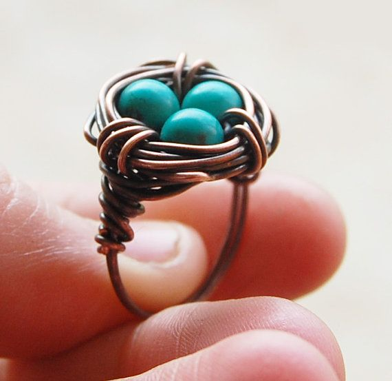 Bird nest ring, Oxidized copper, Turquoise, Custom sized, Wire jewelry. $18.00, via Etsy.