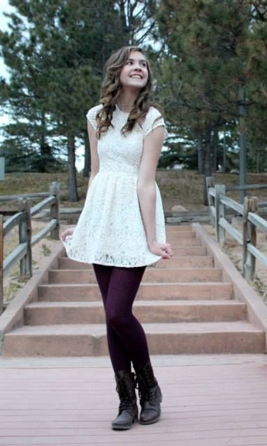 lace dress maroon leggings combat boots fall and