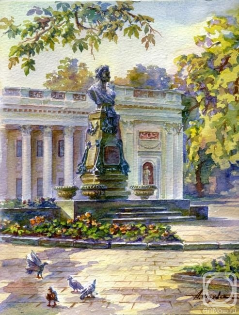 Picture of the monument to alexander sergeyevich pushkin in odessa by